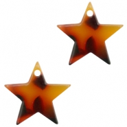 Resin pedants 15mm star Red-Brown