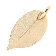 Charm with 1 loop metal leaf Champagne Gold