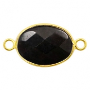 Semi-precious stone pendants/connectors oval 18x14mm Gold-Black