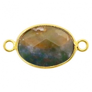 Semi-precious stone pendants/connectors oval 18x14mm Gold-Dark Green