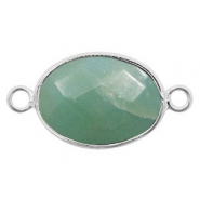 Semi-precious stone pendants/connectors oval 18x14mm amazonite Silver-Teal Green