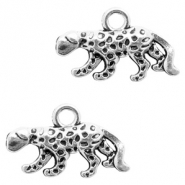 Metal charms Leopard Antique Silver