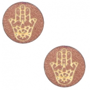Wooden cabochon Hamsa hand 12mm Rose Gold