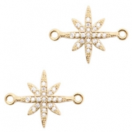 Metal rhinestone charms connector star Gold