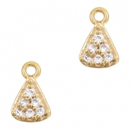 Metal rhinestone charms triangle Gold