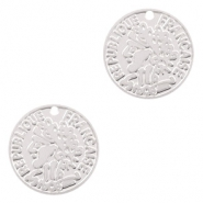 Bohemian charms coin 10mm Silver