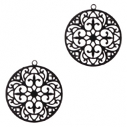 Bohemian charms round 20mm Black