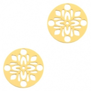 Bohemian charms round 14mm Gold