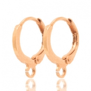 DQ European metal findings closable earrings with loop Rose Gold (nickel free)