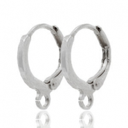 DQ European metal findings closable earrings with loop Antique Silver (nickel free)