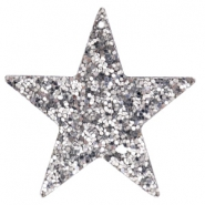 Faux leather pendants star with glitter Silver