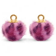 Pompom charms with loop faux fur leopard 12mm Purple Pink-Gold