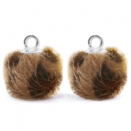 Pompom charms with loop faux fur leopard 12mm Chocolate Brown-Silver