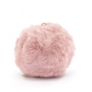 Pompom charms with loop  faux fur 3.5cm Vintage Pink