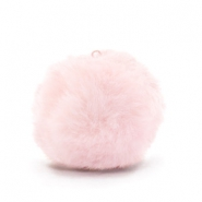 Pompom charms with loop  faux fur 3.5cm Light Pink