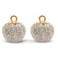 Pompom charms with loop glitter 12mm Light Gold-Gold