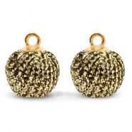 Pompom charms with loop glitter 12mm Gold Anthracite-Gold