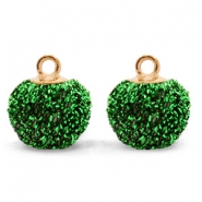 Pompom charms with loop glitter 12mm Green-Gold