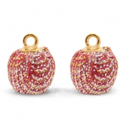 Pompom charms with loop glitter 12mm Red-Gold