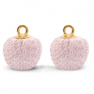 Pompom charms with loop glitter 12mm Light Pink-Gold