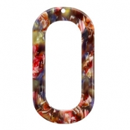 Resin pendants oblong oval 56x30mm Mixed Red-Yellow