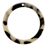 Resin pendants round 35mm Cream-Black
