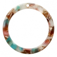 Resin pendants round 35mm Mixed Pink-Blue