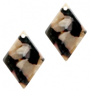 Resin pendants rhombus 20x14mm Mixed Brown