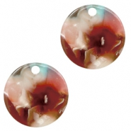 Resin pendants round 12mm Mixed Pink-Blue
