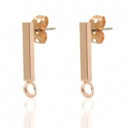 DQ European metal findings earpin bar 14x2mm Rose Gold (ncikel free)