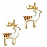 Metal charms reindeer Gold-White