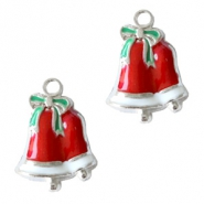 Metal charms Christmas bells Silver-Red