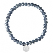 Sisa top faceted bracelets 6x4mm (stainless steel charm) Dark Blue-Pearl Shine Coating