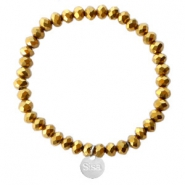 Sisa top faceted bracelets 6x4mm (stainless steel charm) Gold-Amber Coating