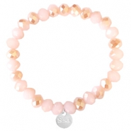 Sisa top faceted bracelets 8x6mm (stainless steel charm) Ginger Pink-Pearl Shine Coating