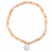 Sisa top faceted bracelets 4x3mm (stainless steel charm) Ginger Pink-Pearl Shine Coating