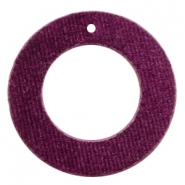 Velvet pendants round 43mm Aubergine Purple