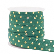Elastic ribbon dots Petrol Green