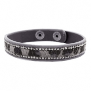 Ready-made Bracelets hairy + rhinestones Dark Grey-Brown
