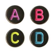 Acrylic letter beads mix Black-Rainbow