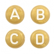 Acrylic letter beads mix Gold-White