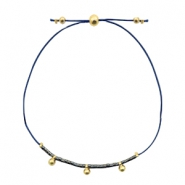 Ready-made bracelets with small bead Dark Blue-Gold