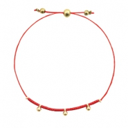 Ready-made bracelets with small bead Red-Gold