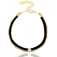 Ready-made bracelets velvet with belcher chain Black-Gold