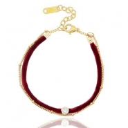 Ready-made bracelets velvet with belcher chain Port Red-Gold