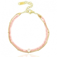Ready-made bracelets velvet with belcher chain Vintge Pink-Gold