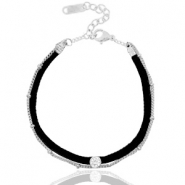 Ready-made bracelets velvet with belcher chain Black-Silver