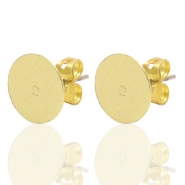 DQ European metal findings earpin round 10mm Gold (nickel free)