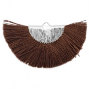Tassels charm Silver-Chocolate Brown