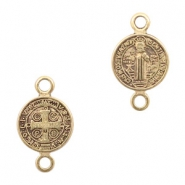 DQ European metal charms connector Jesus 10mm Antique Bronze (nickel free)